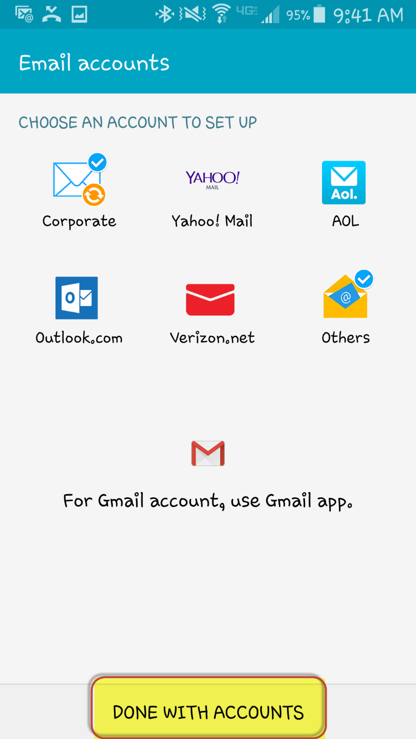 How to set up email on an android phone for Acc email