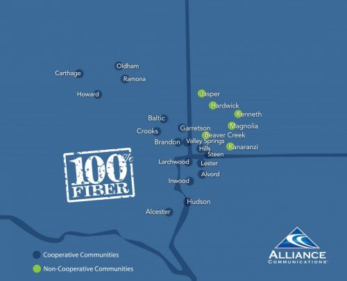 Alliance Service Area Map with cooperative and non-cooperative areas