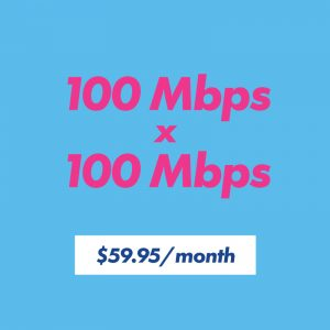 100 mbps x 100 mbps for $59.95 per month