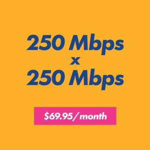 250 mbps x 250 mbps for $69.95 per month