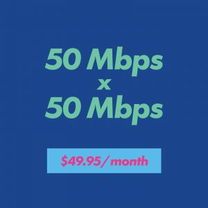 50 mbps x 50 mbps for $49.95 per month
