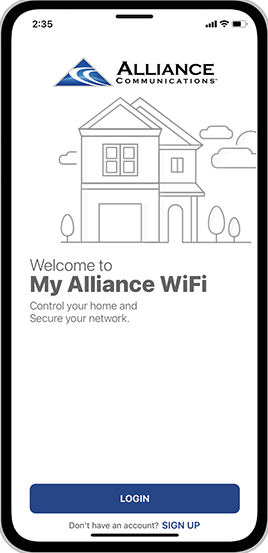 My Alliance WiFi App Step 2: Select Sign Up twoards the bottom of the screen.